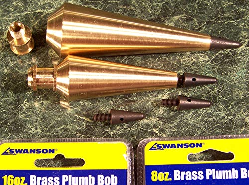 2 Professional Solid Brass Plumb BOBS 16 oz and 8 oz by Swanson New bob Level