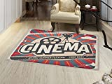 smallbeefly Vintage Door Mats for inside Retro Cinema Movie Vintage Paper Texture Hollywood Stars Theme Image Print Bath Mat for tub Bathroom Mat Ecru Brown Red Gray