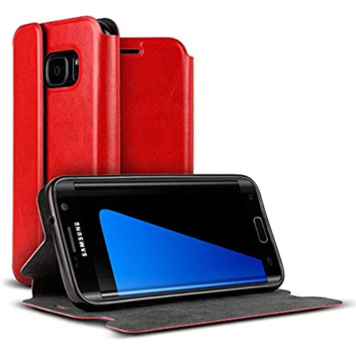 Galaxy S7 Case, VALKYRIE Galaxy S7 Premium Folio Wallet Case [Magnetic Flap, Stand, Card Slot] RED for Samsung Galaxy S7 Sales
