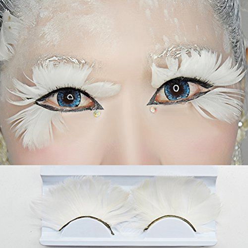 AOWA 1 Pair White Handmade Make Up Feather Eyelashes for Halloween Christmas Party(With Glue)