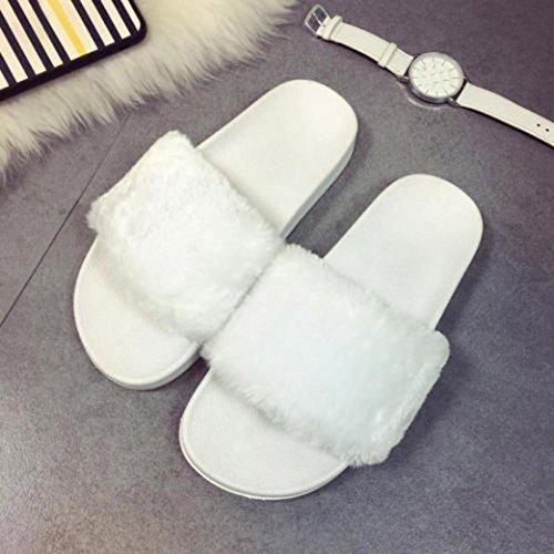 Ouneed® Damen Sandalen , Damen Slip On Sliders Flauschige Faux Pelz Flache Pantoffel Flip Flop Sandale Weiß