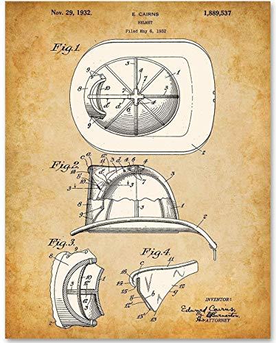 Firefighter Helmet - 11x14 Unframed Patent Print - Great Gift for Firefighters