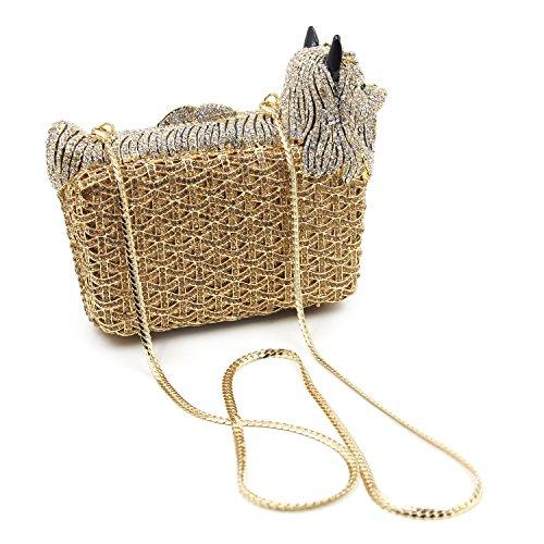 Milisente Women Evening Bag Puppy Crystal Clutch Purse Party Evening Handbag (Gold) by Milisente (Image #1)