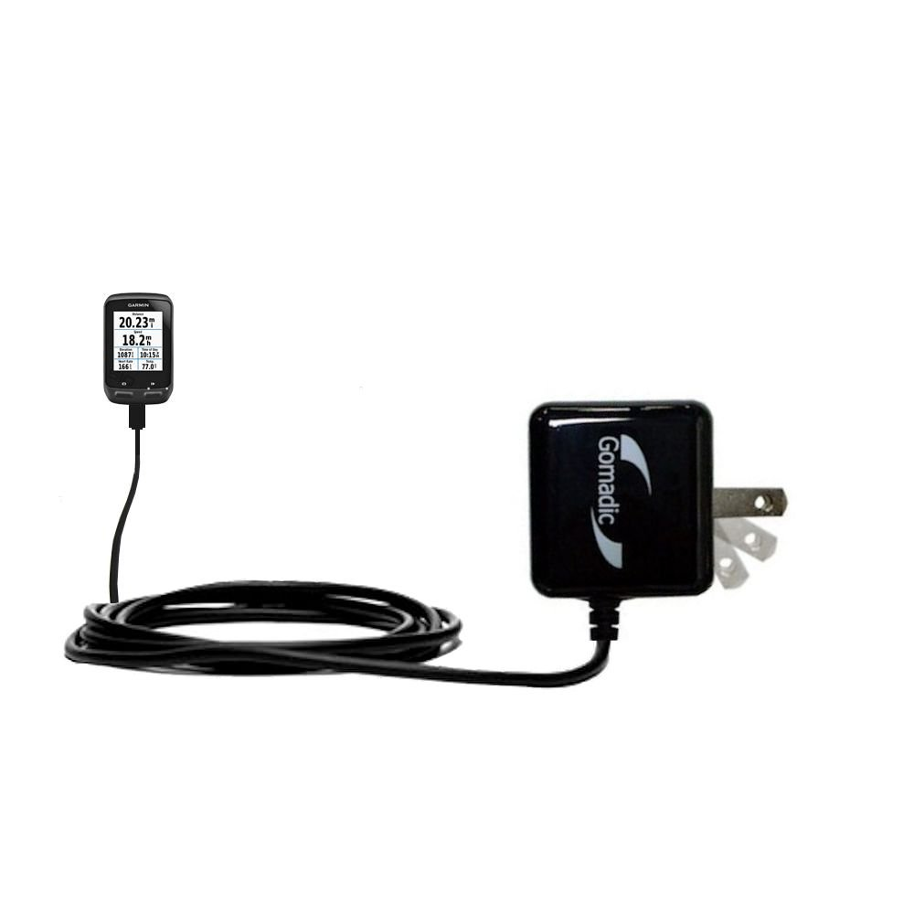 Gomadic Intelligent Compact AC Home Wall Charger for the Garmin EDGE 510 - High output power with a convenient, foldable plug design - Uses TipExchange Technology