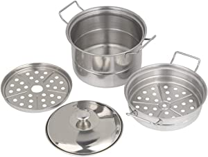 Mini Steamer Pot, Stainless Steel Food Steamer Children Play House Kitchen Toy Cooking Food
