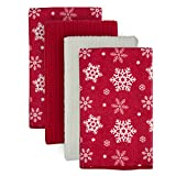 DII Microfiber Multi-Purpose Cleaning Towels Perfect for Kitchens, Dishes, Car, Dusting, Drying Rags, 16 x 19, Set of 4 - Snowflakes