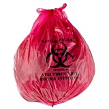 Red Isolation Infectious Waste Bag / Biohazard Bag High Density 17 Microns - 250/Case 30 Gallon 33'' X 40''