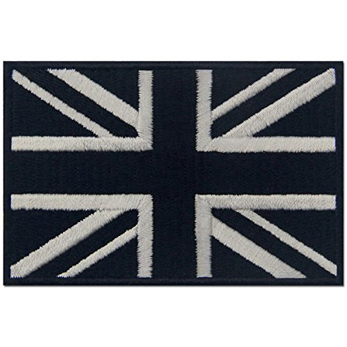 Tactical British Union Jack Embroidered Patch England Flag UK Great Britain Iron On Sew On Emblem - White & Black