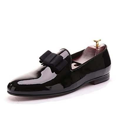 ef5355177ba44 HI&HANN Black Patent Leather Men Loafers with Black Bowtie Slip-on Loafer  Round Toes Smoking