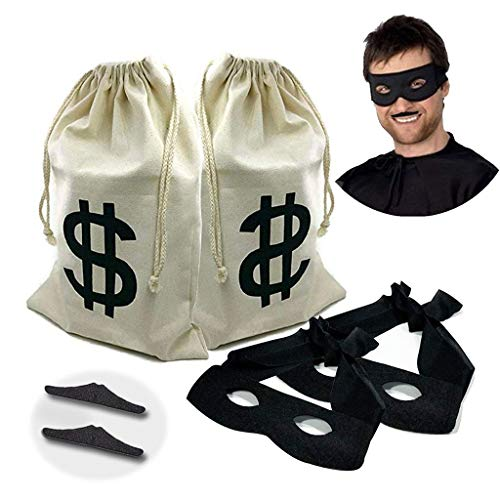 2 set Canvas Money Bag Pouch with Drawstring Closure and Dollar Sign Design for Toy Party Favors, Bank Robber Cowboy Pirate Theme,Robber Costume Black Eye Mask and Men's Zorro Novelty Moustache(6pcs) -