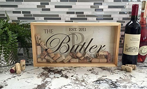 Qualtry Personalized Wine Cork Shadow Box Display - Wall Mounted Monogram Wine Cork Holder for Wedding (16.25