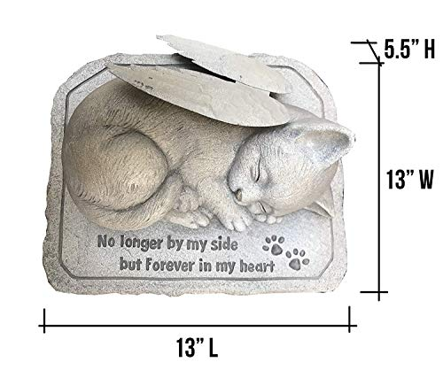 CT DISCOUNT STORE Cat Memorial Stone Cold Cast Ceramic Memorial Garden Backyard (Angel Cat with Wing) (Large Ceramic Animals)