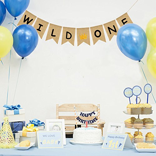 Uniwish Wild One Burlap Banner First Birthday Boy Girl Party Decorations Vintage Rustic Bunting For
