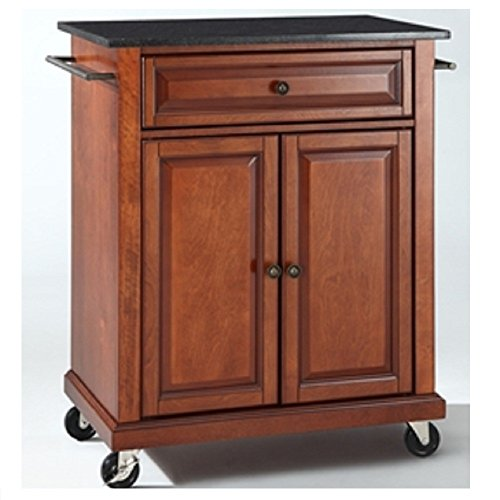 able Kitchen Island Cart w/Granite Top & Locking Wheels Kitchen Portable Island Cart Storage Rolling Trolley Top Wood Drawers Table ()