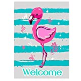 ALAZA Flamingo Welcome Summer Funny Garden Flag House Banner 28″ x 40″ Double Sided, Tropical Bird Flower Pink Flamingo Blue Stripe Garden Flags for Anniversary Yard Outdoor Decoration For Sale