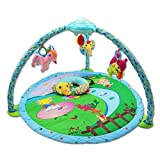 FJY Baby Gym Play Mat Activity Playmat Large Soft Cosy Game Crawling Pad Carpet Blanket,Puzzle Game 3-In-1,With Plush Toy Rattles,Musical and Light, green