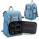GOgroove Digital SLR Camera Backpack (Blue - Mid-Volume) w/Tablet Compartment, Customizable Dividers for Accessory Storage, Tripod Holder and Weatherproof Rain Cover for Canon , Nikon , Olympus & more