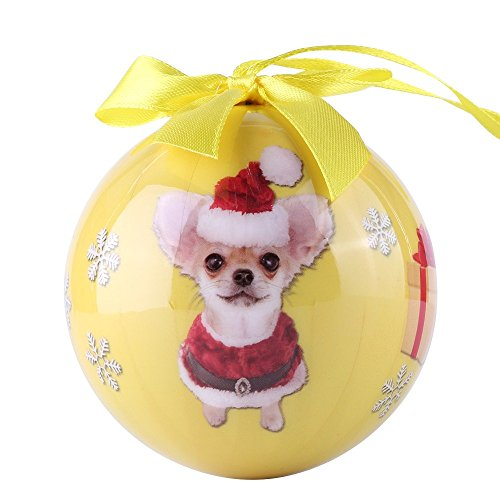 CueCue Pet CUECUEPET Christmas Winter Themed Decoration Shatterproof Memorial Ball with Top Bow-Chihuahua Holiday Ornament, One Size, Yellow
