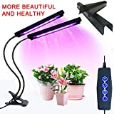 Grow Light, 20W 40 LED Auto ON/Off Plant Grow Lamp Dual Head Timing Grow Light with Red/Blue Spectrum Adjustable Gooseneck 3/6/12H Timer 5 Dimmable Levels for Indoor Plants Seed Starting