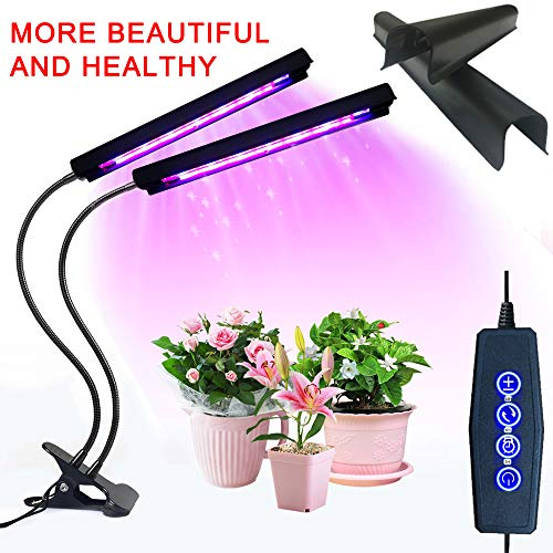 Grow Light, 20W 40 LED Auto ON/Off Plant Grow Lamp Dual Head Timing Grow Light with Red/Blue Spectrum Adjustable Gooseneck 3/6/12H Timer 5 Dimmable Levels for Indoor Plants Seed Starting by ALIWELL