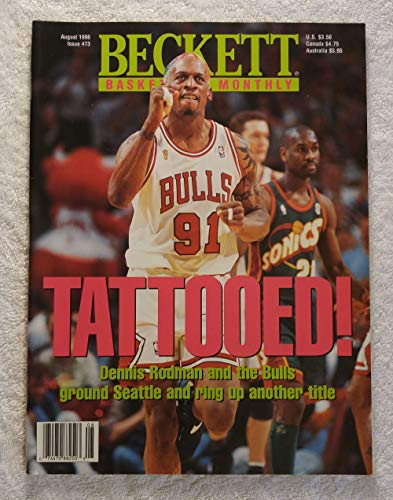 Dennis Rodman - Tattooed! - Chicago Bulls - NBA World Champions - Beckett Basketball Monthly Magazine - #73 - August 1996 - Back Cover: Joe Dumars (Detroit Pistons)