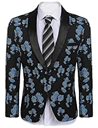 COOFANDY Men's Slim Fit One Button Suit Coat Casual Notched Lapel Solid Blazer
