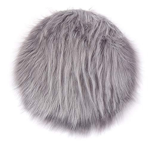 Super Soft Faux Fur Sheepskin Rug Shaggy Round Area Rugs Floor Mat Home Decorator Carpets 0.9/1.4/1.9/ft Diameter (Gray, 0.9ft)