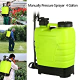 kisshes 4 Gallon Backpack Sprayer, 16L Lawn Garden Knapsack Hand Piston Pressure Pump Sprayer for Farm Yard Fertilizer/Herbicides/Pesticides/Common Household Cleaners