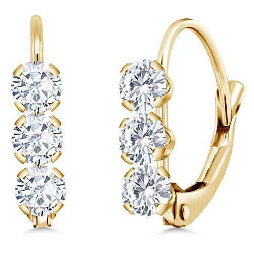 14k White Gold Moissanite Earrings (14K Yellow Gold 0.60 Ct Round White Created Moissanite Leverback Earrings)