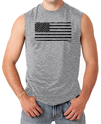 Tcombo Distressed Black USA Flag Mens Sleeveless Shirt