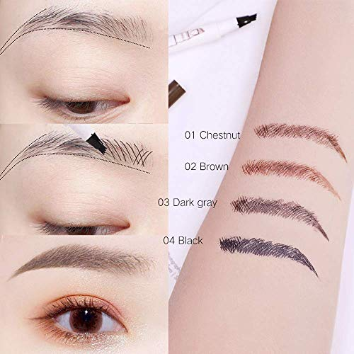 Eyebrow Tattoo Pen,Microblading Eyebrow Pen Microblade Eyebrow Pencil Waterproof & Smudge-Proof With Four Micro-Fork Tips Applicator for Daily Natural Eye Makeup (1# Chestnut/Deep Brown)
