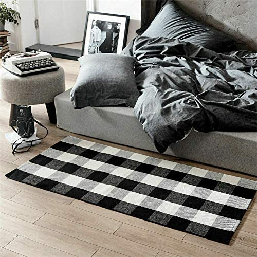 Cotton Buffalo Plaid Check Rug 23.7 x 51.2 Inches Washable Woven Outdoor Rug