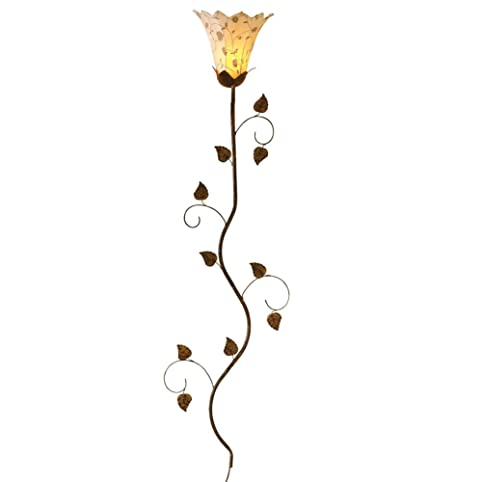 Metal Floral Petals Hanging Wall Lamp, Over 4 1/2 Ft Tall, Antique