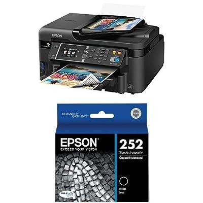 Epson WorkForce WF-3620 WiFi Direct All-in-One Color Inkjet Printer, Copier, Scanner and Epson 252 Original, Black Ink Cartridge (T252120) Bundle