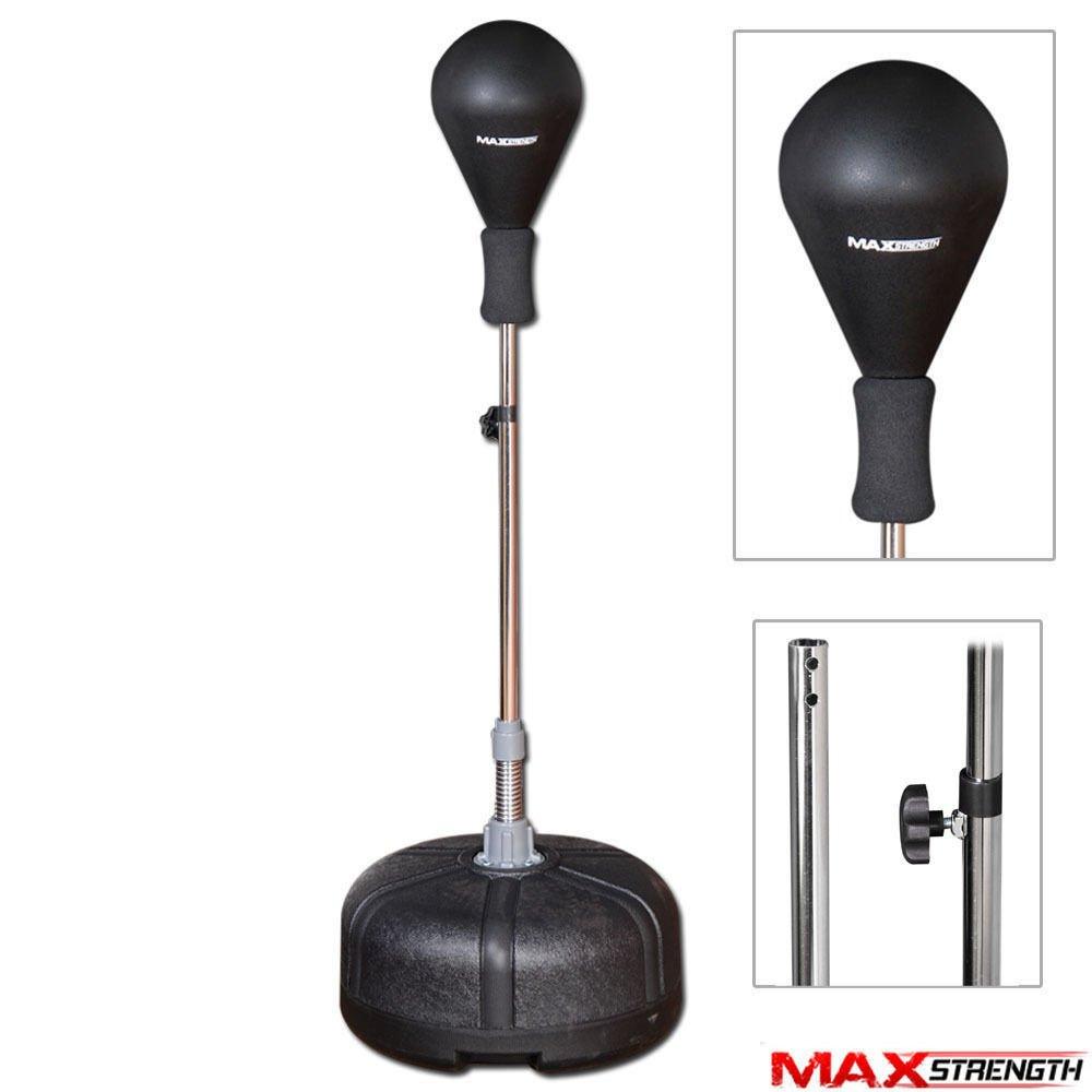Max Strength MAXSTRENGH Bolsa de Boxeo de pie con Bolas de Velocidad y Altura Ajustable, Bolsa Reflectante para Adultos, Negro MAXSTRENGTH