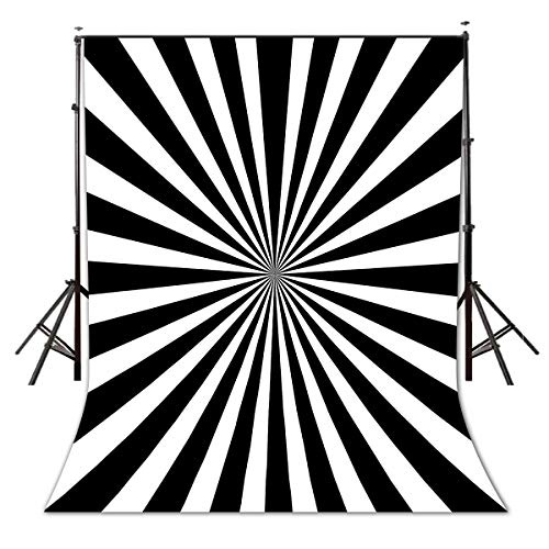 LYLYCTY 5x7ft Sunburst Retro Black and White Backdrop in Vintage Style Summer Sun Beam Black Ray Backdrops Striped Background LYZY0535