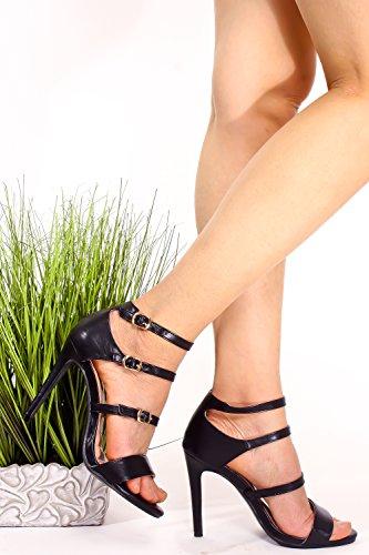 Élégant Pu Lettre Ouverte Toe Trois Sangle Wrap Allover Cheville Boucle Accent Stiletto Haut Talon Chaussures Noir