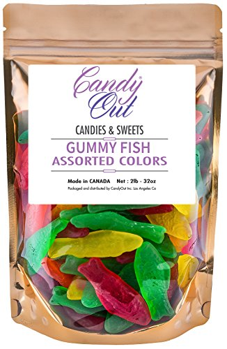 - CandyOut Assorted Gummy Fish 2lb in Sealed Stand Up Bag