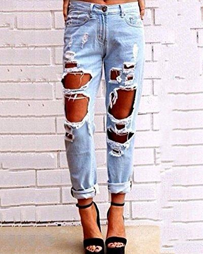 Lápiz Pantalones Rotos Elásticos Tejanos Mujeres Zarco Vaqueros Skinny Pantalones Denim 8wfSv6