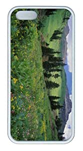 iPhone 5S Customized Unique Landscape Flowers Alpine Meadow Of Sneezeweed Colorado New Fashion TPU White iPhone 5/5S Cases