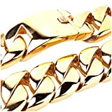 Mens Stainless Steel 40'' 31MM Large Heavy Charm Hip Hop Gold Tone Cuban Curb Chain Link Necklace