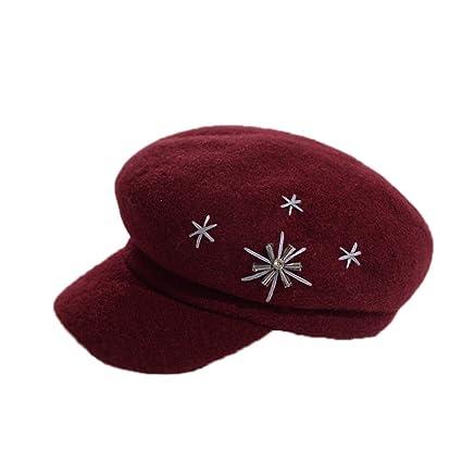 037bf5324dbce Amazon.com  HT LT Hat Female Autumn and Winter English Beret Caps ...