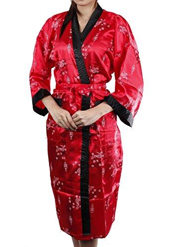 Lofbaz Mujer Kimono estampado que cubre como una toalla, cómoda Design #4 Rojo