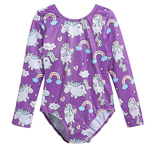 (Leotards for Little Girls Gymnastics 4T 5T Long Sleeved Dance Costumes Sparkle Lovely Unicorn Rainbow Purple (Purple, 120(4-5 years old)))