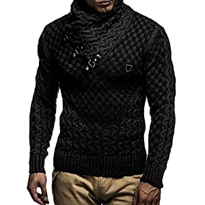 Leif Nelson LN5255 Men's Pullover With Faux Leather Accents