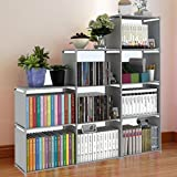 Hosmat 9-Cube DIY Children's Bookcase 30 inch Adjustable Bookshelf Organizer Shelves Unit, Folding Storage Shelves Unit (Grey-9 Cubes)