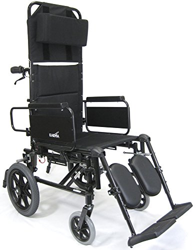 Karman Healthcare KM5000F-TP KM5000 18 in. seat Lightweight Reclining Transport Wheelchair with Removable Desk Armrest