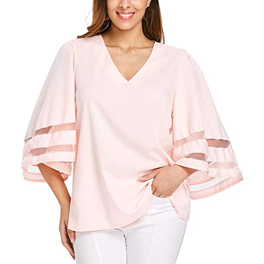 e03c4376 Dreamparis Women's Mesh Patchwork Blouse - Casual Half Bell Sleeve V Neck T- Shirt Tops