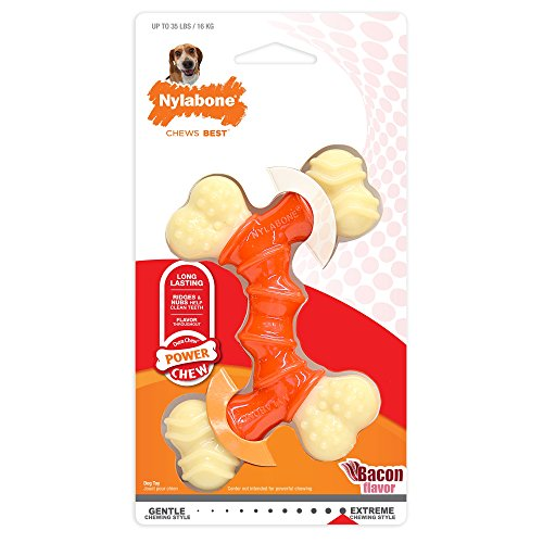 Wolf Durable Chews - Nylabone Power Chew Dura Chew Double Bone, Bacon Dog Chew Toy, Medium