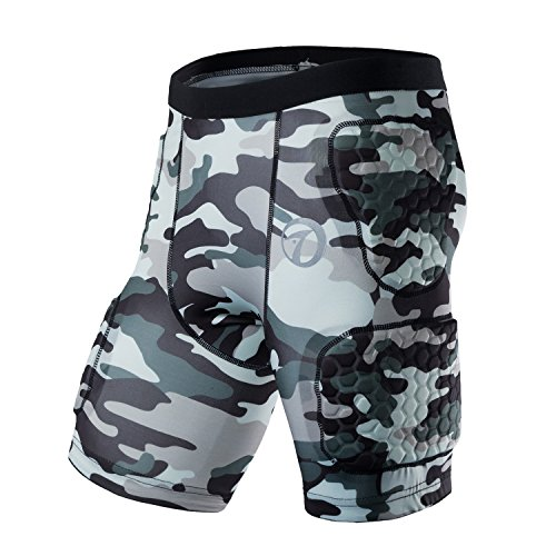 TUOY Camouflage Color Safe Guard Padded Compression Protective Shorts Rib Chest Protector Short for Paintball Skateboard Skiing Parkour Contact Sports(Large)